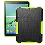 DWay Tab S2 9.7 Case T810 Armor Hybrid Design with Stand Feature Detachable Dual Layer Protective Shell Hard Tablet Back Case Cover for Samsung Galaxy Tab S2 9.7inches Tablet T810 (Green)