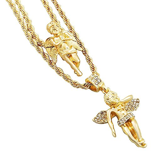 Gold-Tone Mens Iced Out Hip Hop Bling 2 Piece Pendant Cherub Angel and Wide Wing Angel 4mm Rope Chain Set