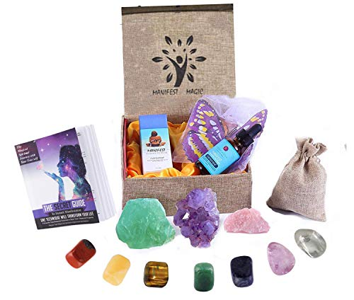 Luxury Healing Crystals Collection for Fulfillment,Joy,Relaxation,7 Chakra Stones, Amethyst, Fluorite,Pink Quartz,Aromatherapy Fulfillment oil, 3D butterflies,Guide in Linen box, Gift, Anxiety Relief