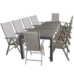 Mobiliario de jardín mesa extensible, marco de aluminio, mesa polywood, 205/275x 100cm, Gris + 10x Solider aluminio con respaldo alto Posición silla plegable plegable robusto con respaldo de 7posiciones silla de jardín