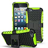 iPod Touch 6 Case, ANGELLA-M Built-in Kickstand Hybrid Armor Case Detachable 2in1 Shockproof Tough Rugged Dual-Layer Cover Case for iPod Touch 5 Touch 6 Green