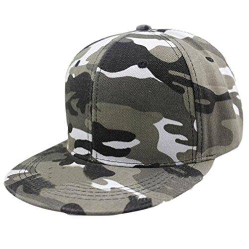 Elaco Camouflage Cap Adjustable Military Fatigue Baseball Cap Hat For Men Women (Grey)