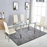 NewRetailGlobal 5 Pieces Glass Dining Room Table Set For 4 Leather Chairs  Kitchen Dining Room Beige