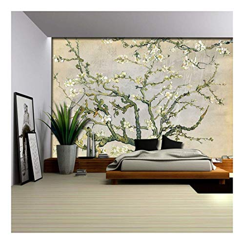 wall26 - Cream and Gray Almond Blossom by Vincent Van Gogh - Wall Mural, Removable Sticker, Home Decor - 100x144 inches