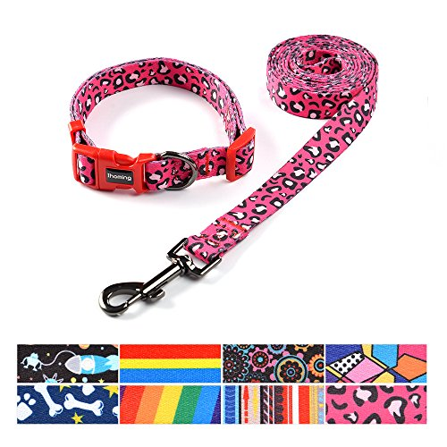 ihoming Pet Collar Leash Set Combo Safety Set for Daily Outdoor Walking Running Training Small Medium Large Dogs Cats - Dog Combo Collar