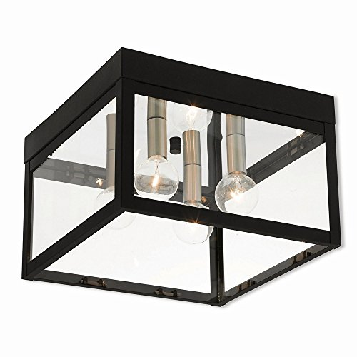Livex Lighting 20589-04 Nyack Black 4 Light Outdoor Ceiling Mount