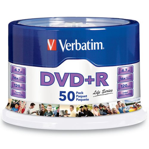 Verbatim - 50-Pack 16x DVD-R Disc Spindle