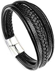 Mens Braided Leather Multi Layer Fashion Bracelet/Wrist Band-ST0589