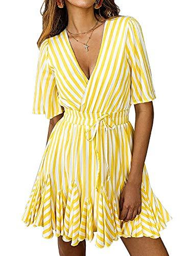 (SHIBEVER Summer Sexy Mini Wrap Dresses for Women V Neck Beach Casual Striped Polka Dot Ruffle Hem Pleated Boho Sun Dress Yellow M)