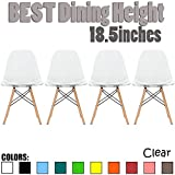 2xhome Set of 4 Clear Mid Country Modern Molded Shell Designer Assemble Plastic Chair Side No Arms Wheels Armless Chairs Natural Wood Wooden Eiffel for Dining Room Bedroom Kitchen Accent Office DSW Review