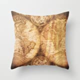 UOOPOO Antique World Map on Wood Cotton Canvas Pillow Case 20 x 20 Inches Square Wedding Cushion Cover for Sofa Print One Side