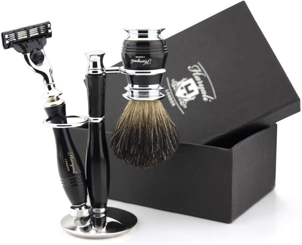 Haryali London Black - Set de afeitado para hombre (3 bordes de ...