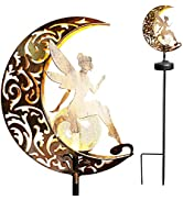 YJFWAL Garden Solar Lights Pathway Stake Lights Moon Fairy Glass Globe with Angel Decor, Outdoor ...