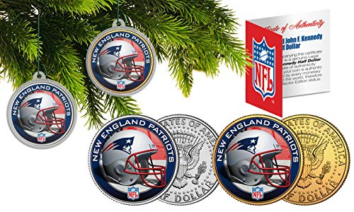 Licensed New England Patriots NFL Christmas Tree Ornament Colorized 24KT Gold JFK Half Dollar 2 Coin Set! W/H COA!