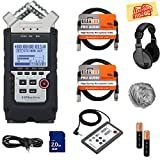 zoom remote - Zoom H4n Pro Handy Recorder Bundle with Headphones, Remote, SD Card, 2 XLR Cables, Aux Cable, AA Batteries, and Austin Bazaar Polishing Cloth