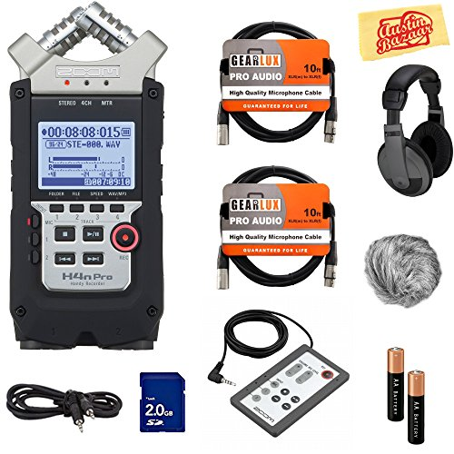 Zoom H4n Pro Handy Recorder Bundle with Headphones, Remote, SD Card, 2 XLR Cables, Aux Cable, AA Batteries, and Austin Bazaar Polishing Cloth Zoom H4n Recorder