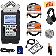 Zoom H4n Pro Handy Recorder Bundle with Headphones, Remote, SD Card, 2 XLR Cables, Aux Cable, AA Batteries, and Austin Bazaar Polishing Cloth