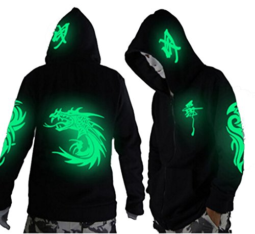 LuckyDM Unisex-Adult/Teens Galaxy Unique Design Hoodie Luminescent Hoody Jacket Glow Lights at Night (S (Asian Size), Green Dragon)