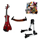 Meisel Electric Violin Pack Red w/Silver Stand, Tuner & Skull Rosin