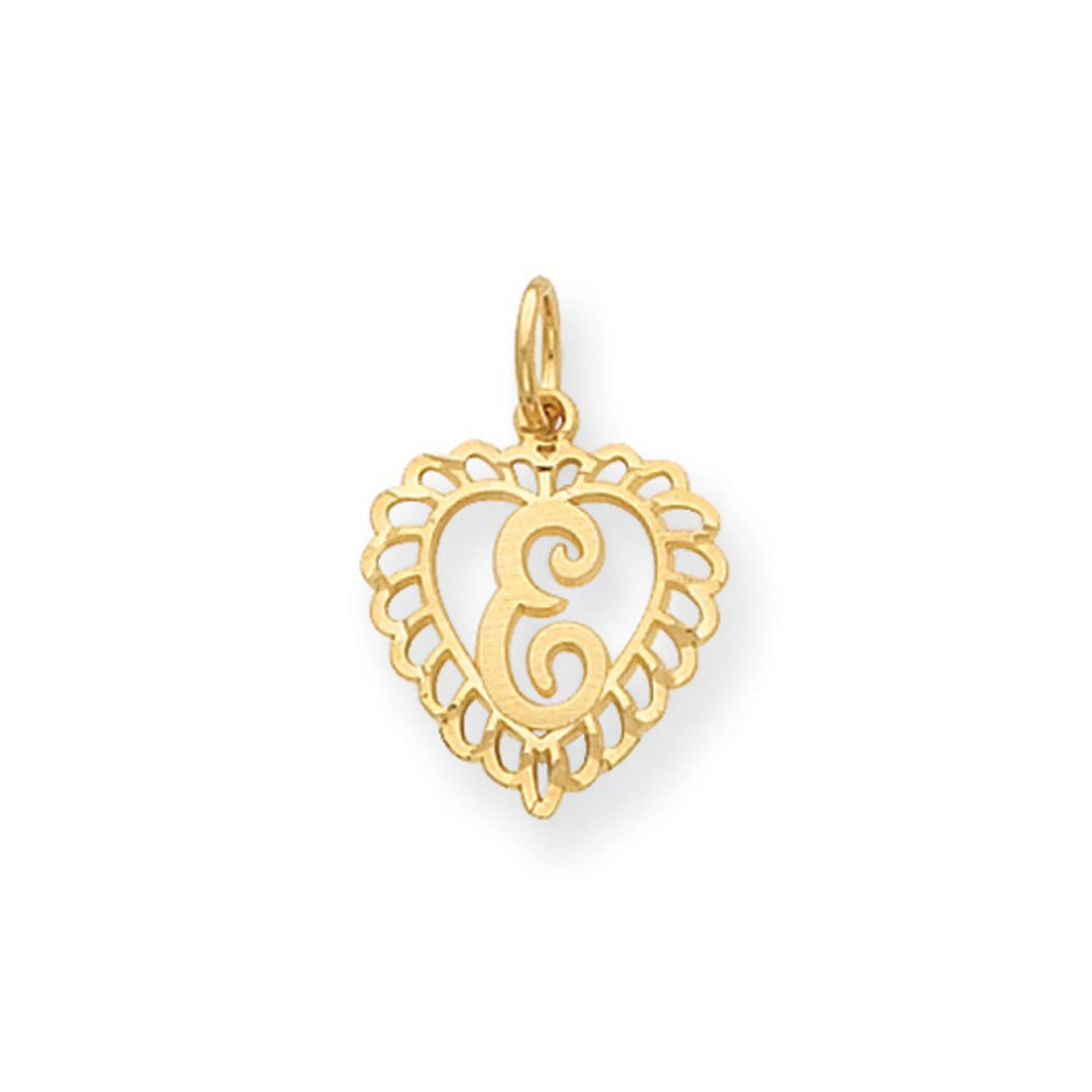 Black Bow Jewelry 14k Yellow Gold Satin Heart Initial E Pendant 15mm Grace Collection