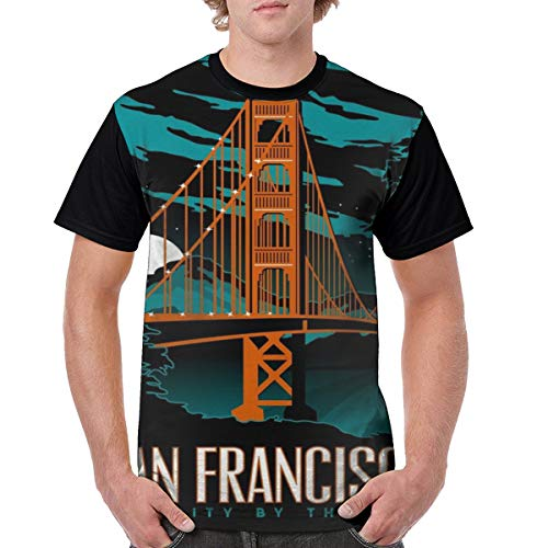 Mens San Francisco at Midnight Poster Crazy 3D Printed Tshirts Casual Creative Crewneck Short Sleeve Graphic Tees Black]()