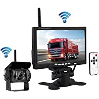 Podofo Wireless Waterproof Vehicle Backup Camera Kit 7 HD Car Rear View Monitor with IR Night Vision Back Up Camera Parking Assistance System for RV Truck Trailer Bus Camper Motorhome