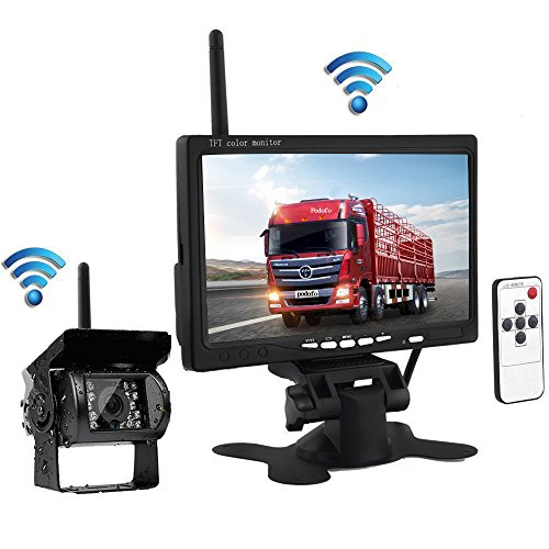 Podofo Wireless Waterproof Vehicle Backup Camera Kit 7″ HD Car Rear View Monitor with IR Night Vision Back Up Camera Parking Assistance System for RV Truck Trailer Bus Camper Motorhome