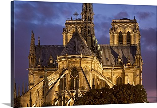 Brian Jannsen Premium Thick-Wrap Canvas Wall Art Print entitled Cathedral Notre Dame, Paris, France by Canvas on Demand