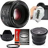Yongnuo 50mm f/1.8 AF Standard Prime Lens with .35x Fisheye, Hood, UV Filter and Microfiber Cloth for Canon EOS 80D, 70D, 60D, 50D, 7D, 6D, 5D, T6i, T6s, T6, T5i, T5, T4i, T3i, T3 Digital SLR Cameras