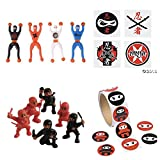kids stickers ninja - NINJA Warrior PARTY Favors - 36 Tattoos - 12 Figures - 12 WALL Crawlers & 24 Stickers - MARTIAL ARTS - Karate CLASSROOM Prizes