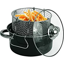 Wee's Beyond 6833-05 Carbon Steel Non-Stick Deep Fryer Set, 4.5 quart, Black