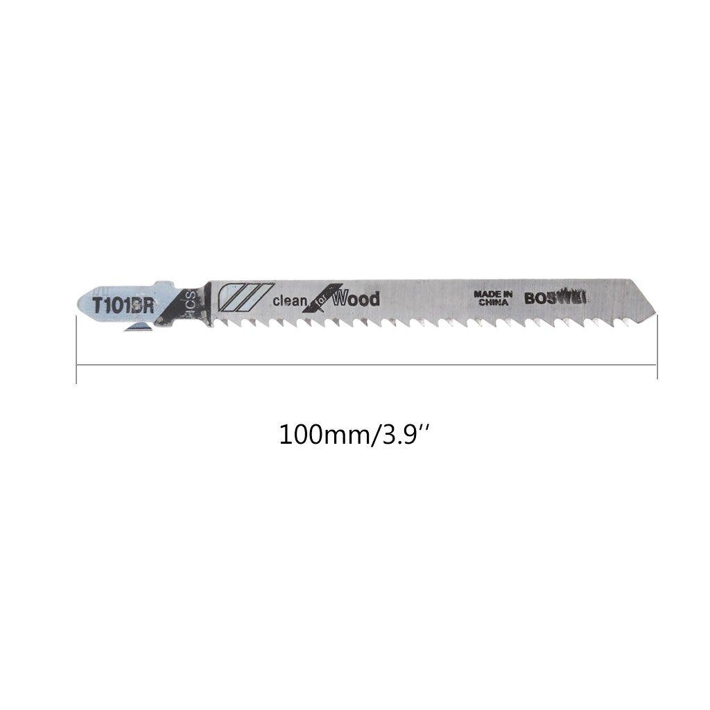 Yuaierchen Lot de 5 lames de scie sauteuse T101BR HCS 100 mm pour bois m/étal et m/étal courb/é et rapide