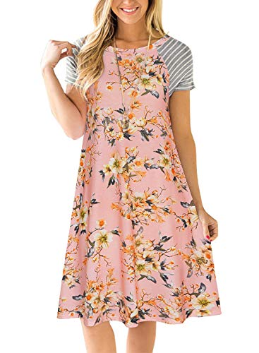 Womens Floral T Shirt Dresses Casual Striped Short Sleeve A-line Loose Shift Dress (L, Pink)