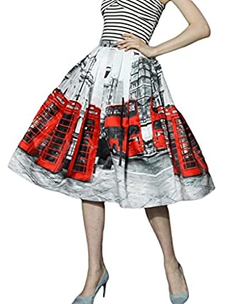 RUIXI Women's London Red Bus Floral Print Classic Skirt