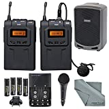 PX-WM6 UHF Professional Omni-Directional Wireless Lavalier Microphone System and PA Speaker Accessory Bundle
