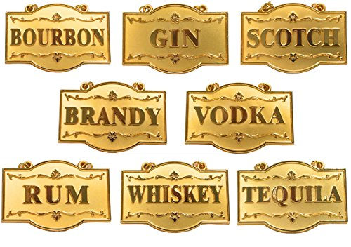 Amlong Plus Deluxe Set of Liquor Tags for Bottles or Decanters, Golden Color, Set of 8 With Adjustable Chain Features (Bourbon, Brandy, Gin, Rum, Scotch, Tequila, Vodka, and Whiskey)