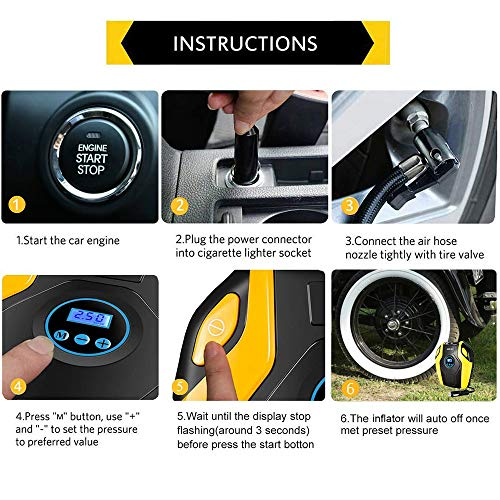 Tire Air Compressor Pump, 12V DC Portable Tire with Digital 150PSI Emergency LED Lighting 10ft Long Cable for Car, Ball