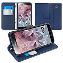 Orzly® - Multi-Function Wallet Stand Case for SAMSUNG GALAXY S6 - BLUE Wallet Style Phone Case with Intergrated Stand - Designed Exclusively for SAMSUNG GALAXY S6 SmartPhone (2015 Model)