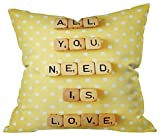 Deny Designs 15034-othrp20 Allyson Johnson Pink Girl Power Outdoor Throw Pillow 16x16, 20'' x 20'', All You Need Is Love 1