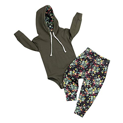 MLCHNCO Baby Outfit Set for Toddler Boys Girls Long Sleeve Hoodie Romper + Floral Pant (Green, ♛Size:90♛ 12-18M) ()