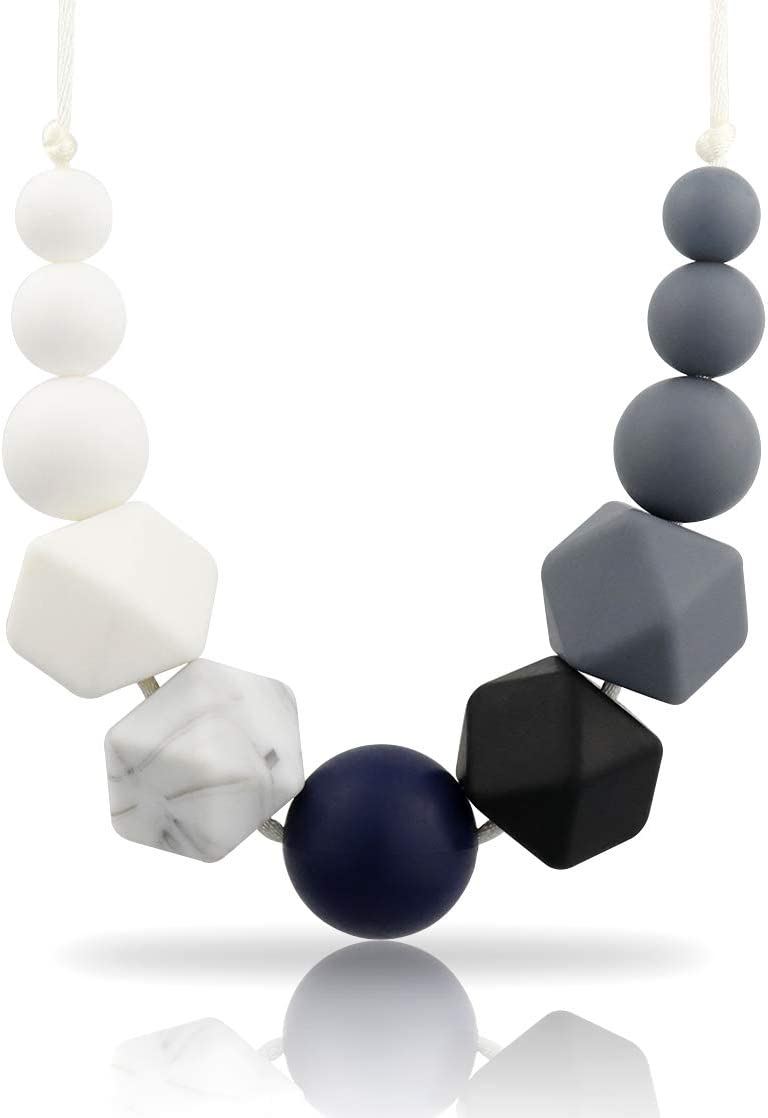 Black Silicone Teething Necklace For Mum To Wear /& Baby To Chew BPA Free