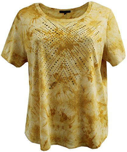 BNY Corner Womens Plus-Size Metallic Foil T-Shirt Blouse Tee Shirt Top Fashion Clothing
