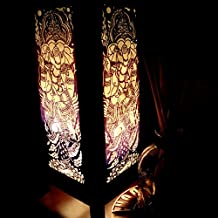 India Ganesh Worship Hindu Brahmin Purple Handmade Asian Oriental Wood Light Night Lamp Shade Table Desk Art Gift Home Vintage Bedroom Bedside Garden Living Room; Free Adapter; Canada Plug Only #219