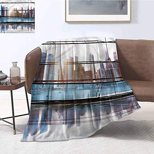 DILITECK Living Room/Bedroom Warm Blanket Modern Futuristic Metropolitan Print Summer Quilt Comforter W60 xL91 Traveling,Hiking,Camping,Full Queen,TV,Cabin