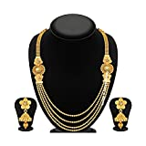 Jewels Galaxy Exclusive 4 Layer Floral Shaped Traditional Wedding Necklace Set