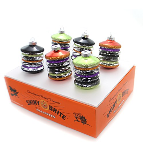 Shiny Brite Halloween Lanterns with Tinsel Ornaments - Set of Six