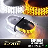 Xprite White and Amber/Yellow 240 LED Law Enforcement Emergency Hazard Warning Top Roof LED Mini Bar Strobe Light with Magnetic Base