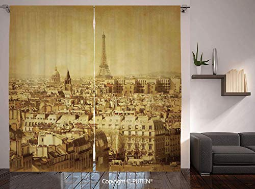 (Thermal Insulated Blackout Window Curtain [ Eiffel Tower,Classic Photo of Eiffel Tower Paris National Landmark Old Album Memories Vintage,Brown ] for Living Room Bedroom Dorm Room Classroom Kitchen)