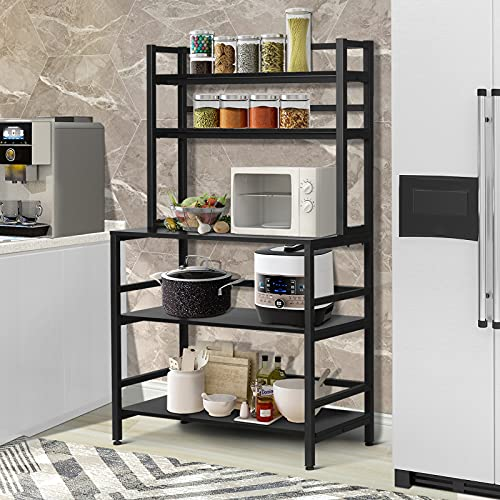 Hrooarem 5 Tier Standing Bakers Rack Kitchen Stand With Shelves Microwave Oven Stand With Hutch Industrial Kitchen Cart Utility Storage Shelf Organizer For Small Kitchen Wood Black Pricepulse