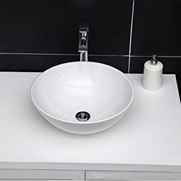 Vessel Sink Round Ghomeg 16 X16 Bathroom Vessel Sink Above Counter Round Bowl White Ceramic Porcelain Small Bathroom Vanity Sink Art Basin